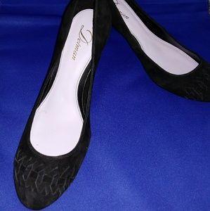 Delman Black Suede High Heel Shoes 9